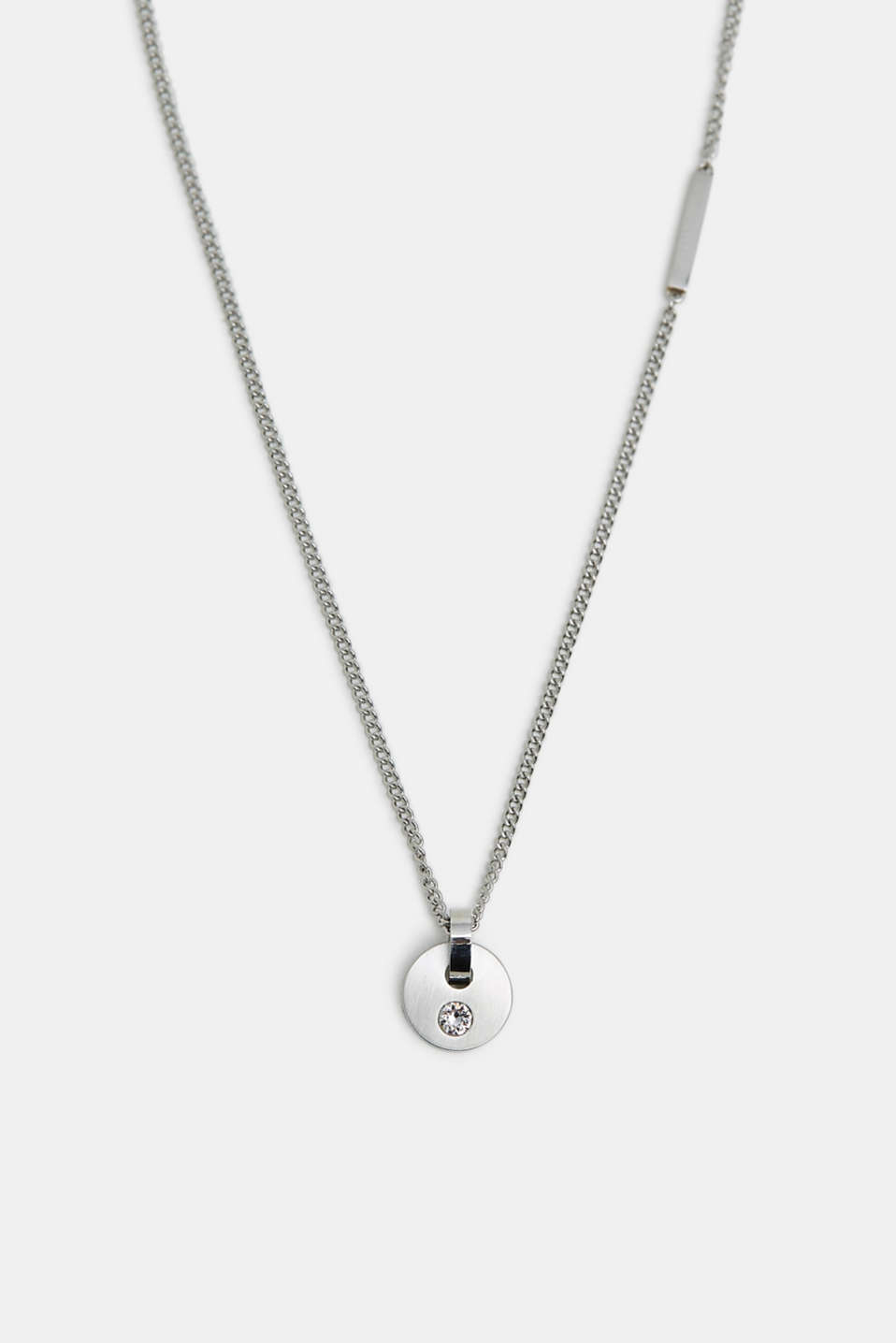 Stainless steel necklace with zirconia pendant, SILVER, detail image number 0
