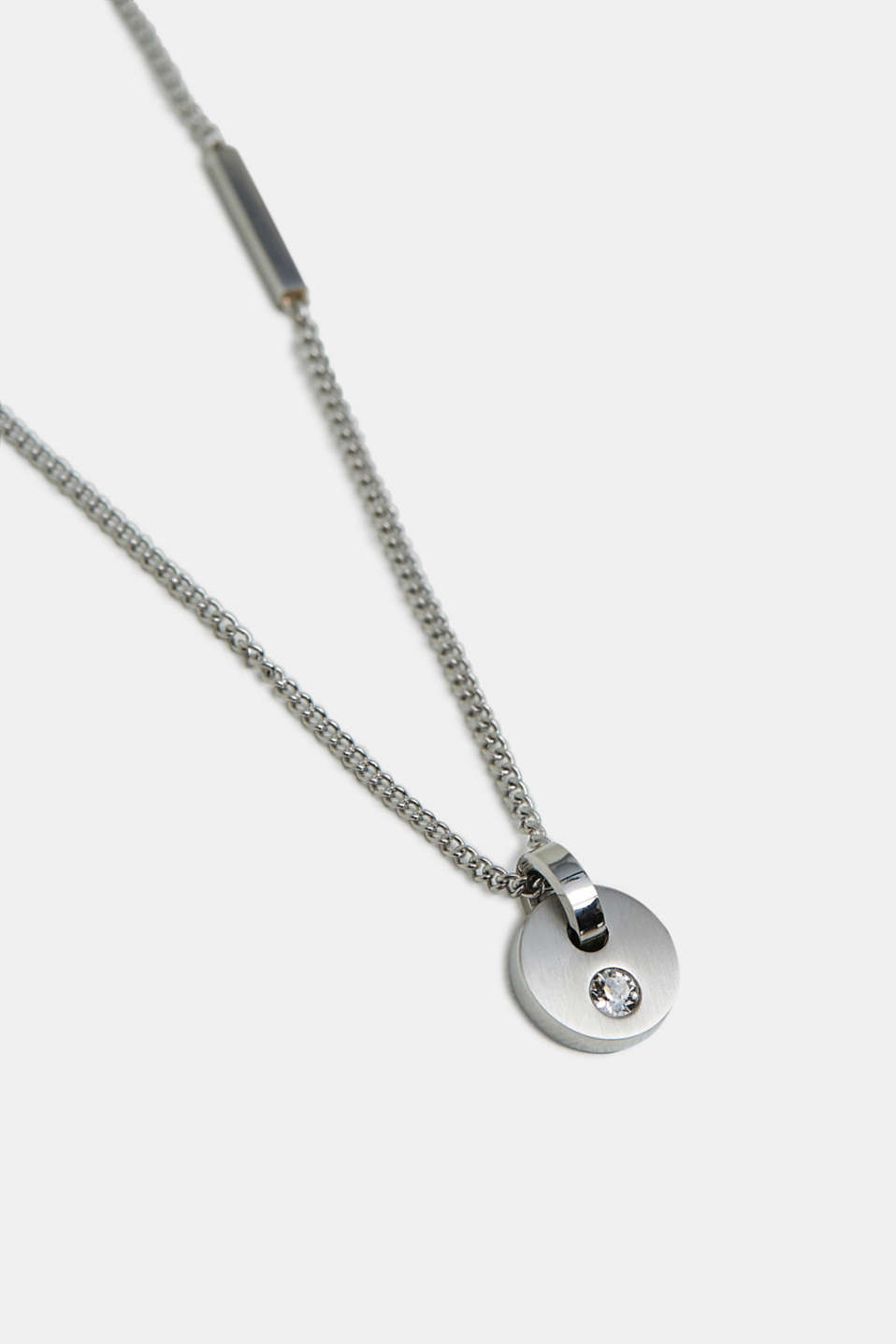 Stainless steel necklace with zirconia pendant, SILVER, detail image number 1