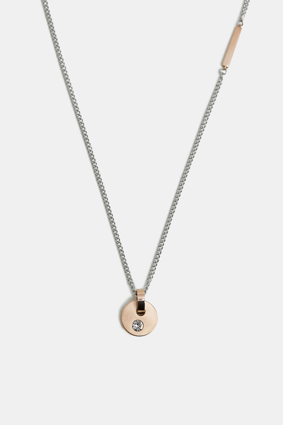 Necklace with a rose gold pendant, SILVER, detail image number 0