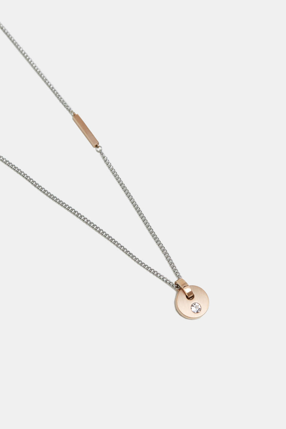 Necklace with a rose gold pendant, SILVER, detail image number 1