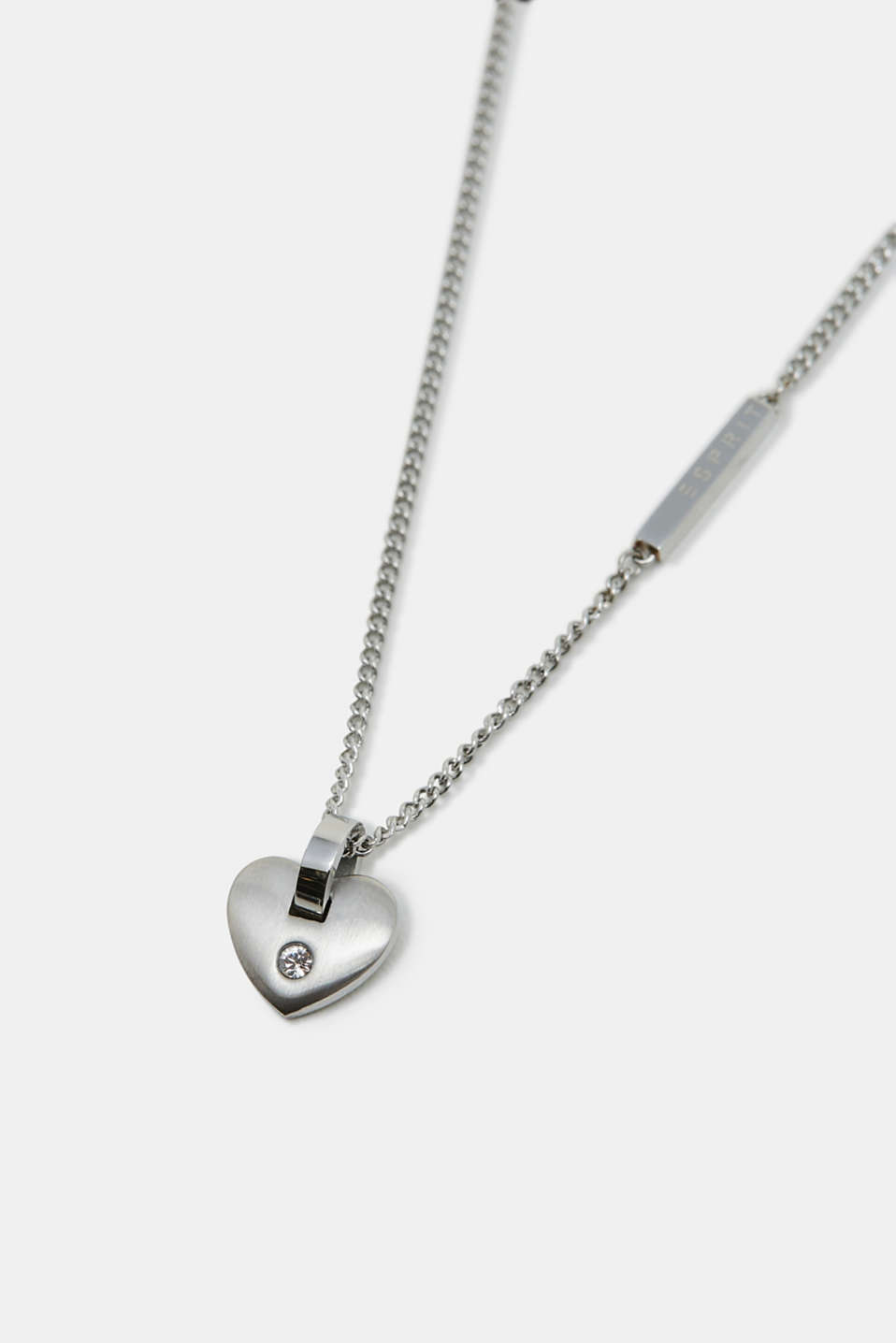 Necklace with heart pendant, stainless steel, SILVER, detail image number 1