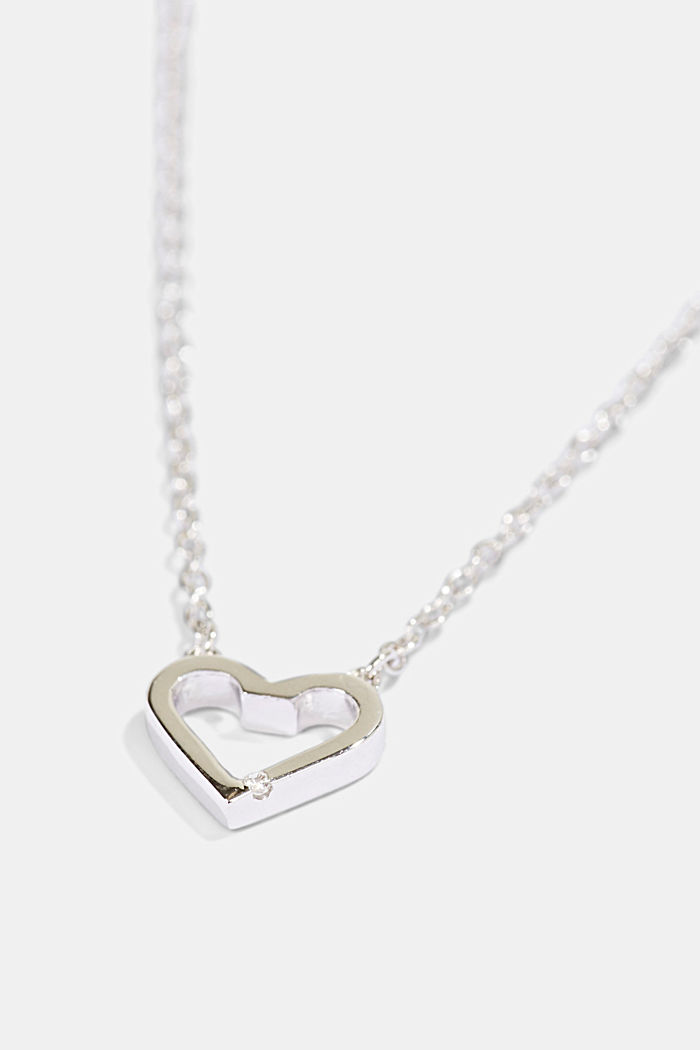 Necklace with a heart pendant, sterling silver, SILVER, detail image number 1
