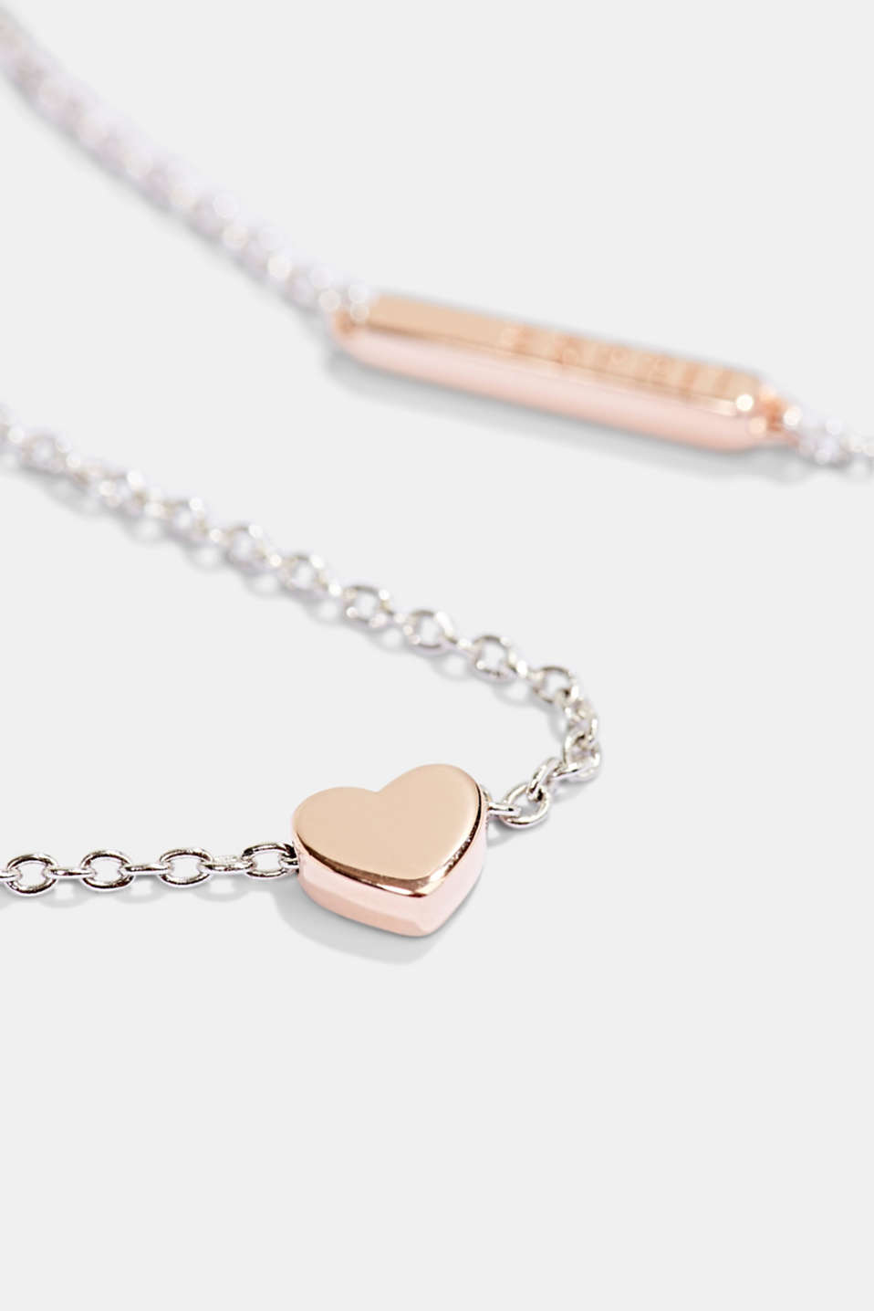 Sterling silver necklace with a heart pendant, SILVER, detail image number 1