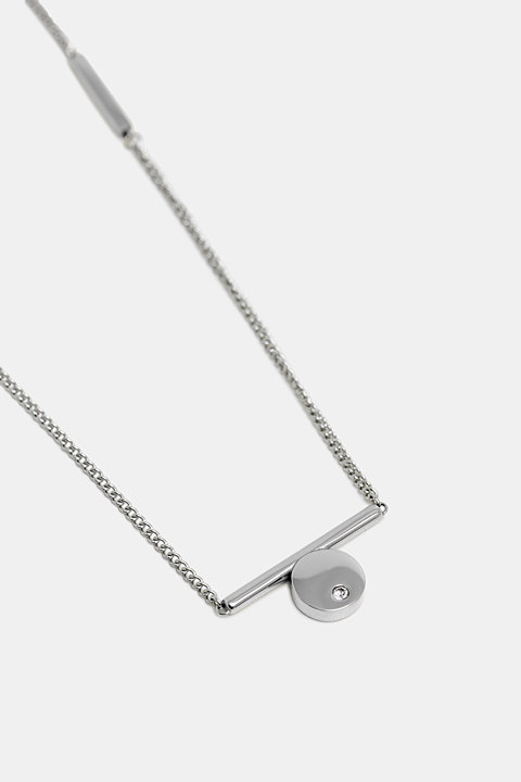 Necklace with zirconia pendant, made of stainless steel