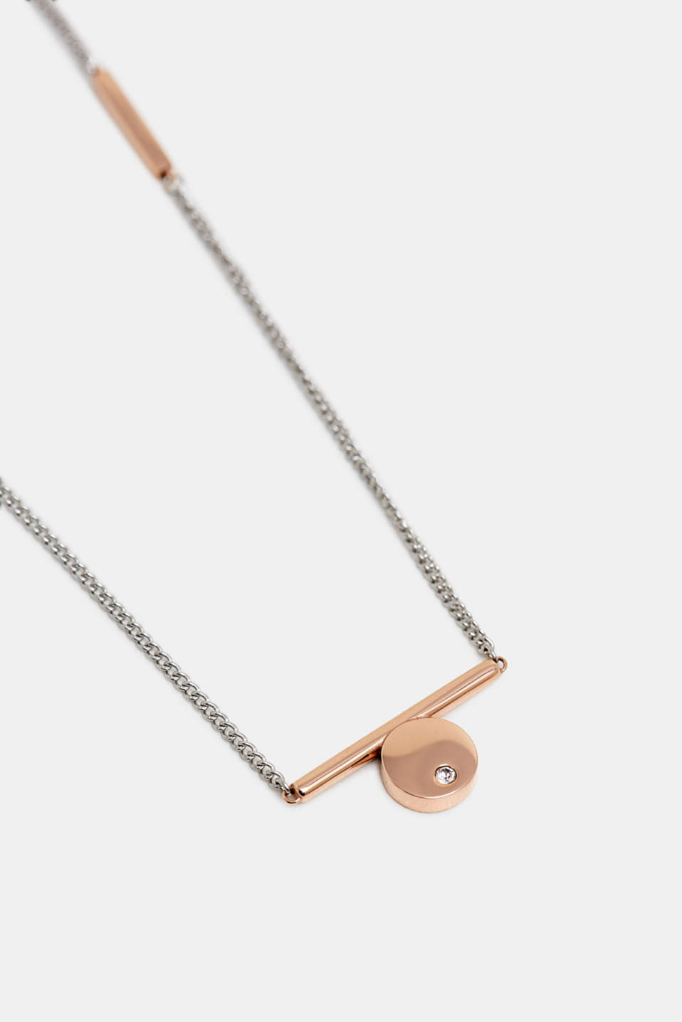 Necklace with a rose gold pendant, made of stainless steel, SILVER, detail image number 1