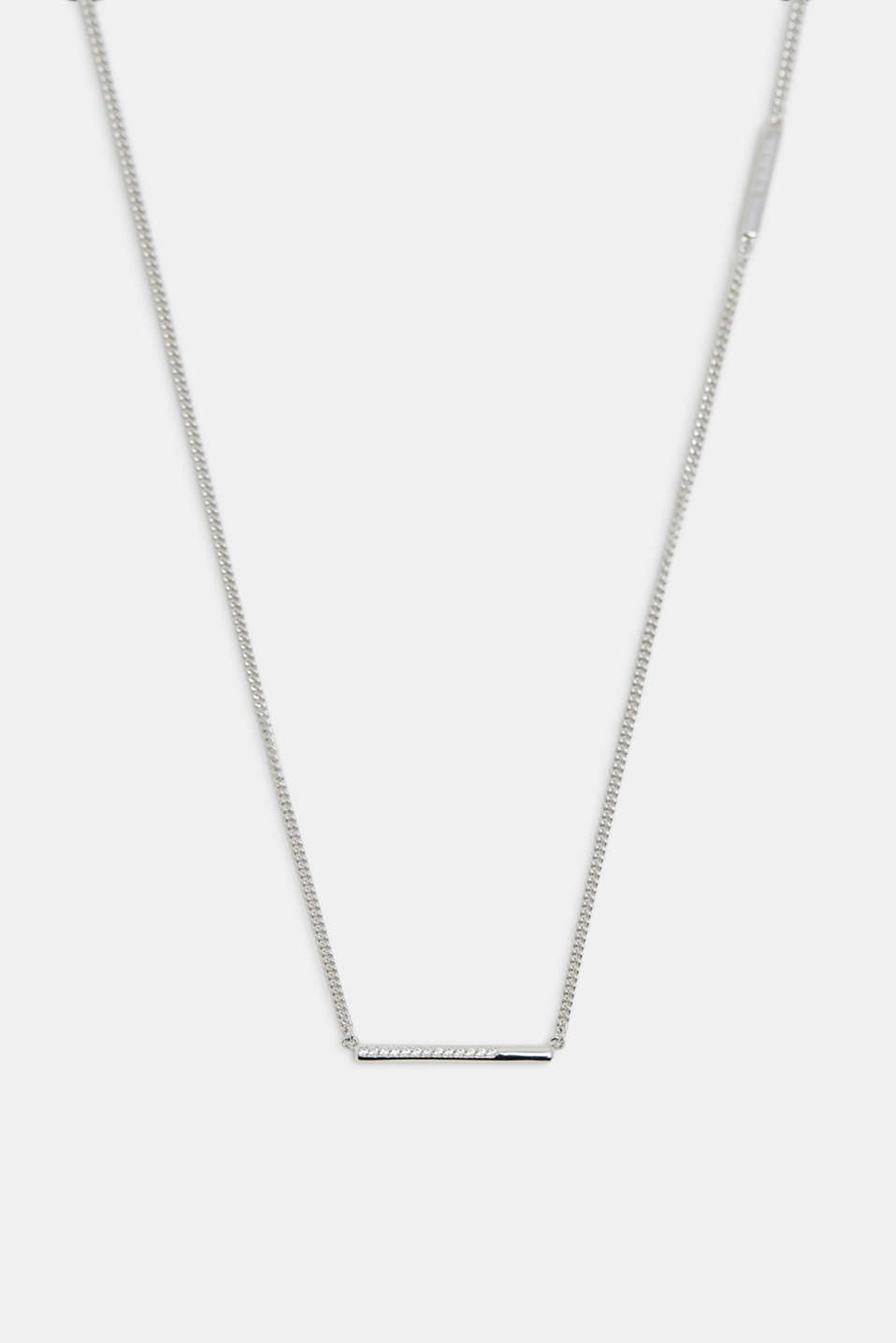 Necklace with a zirconia pendant, SILVER, detail image number 0