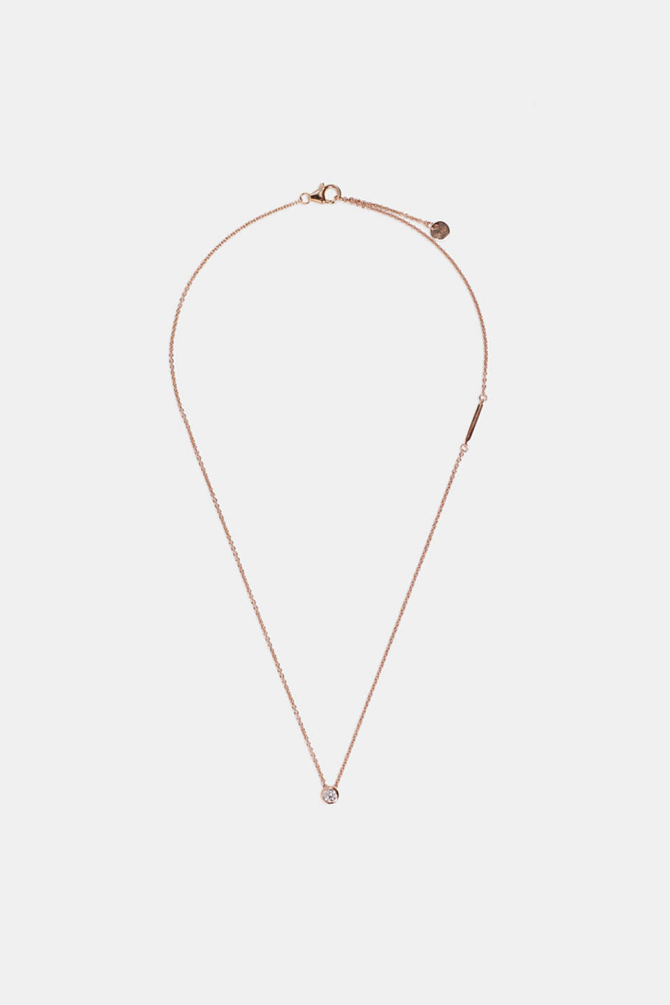 Necklace with zirconia pendant, sterling silver, ROSEGOLD, detail image number 1