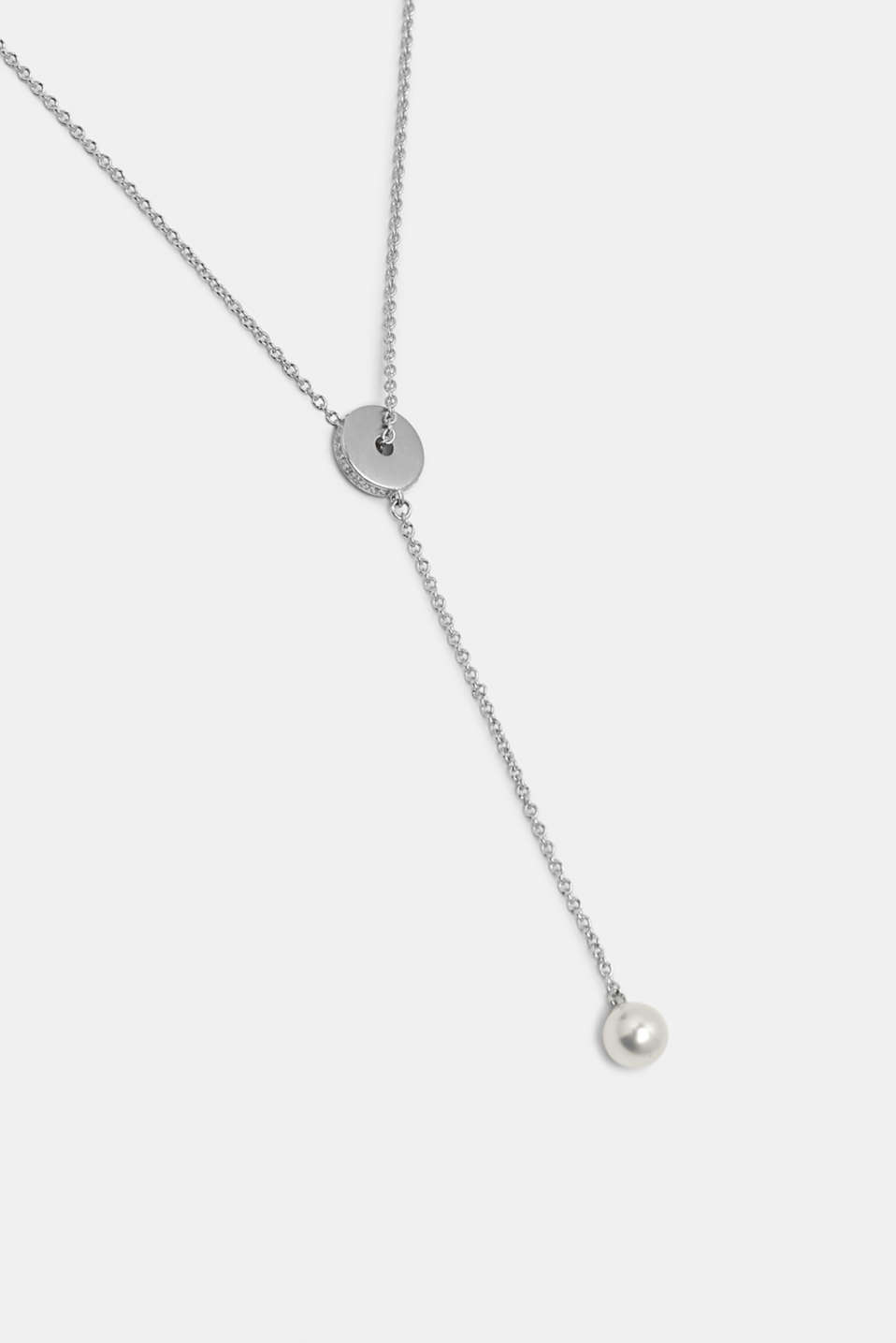 Pendant necklace with zirconia, sterling silver, SILVER, detail image number 1