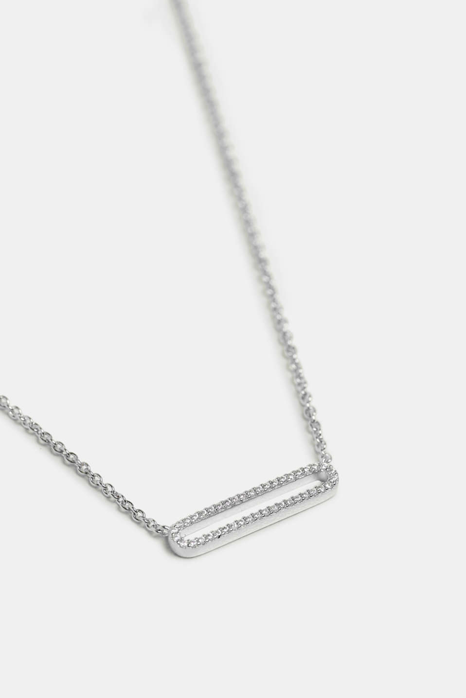 Chain with a zirconia pendant in silver, SILVER, detail image number 1
