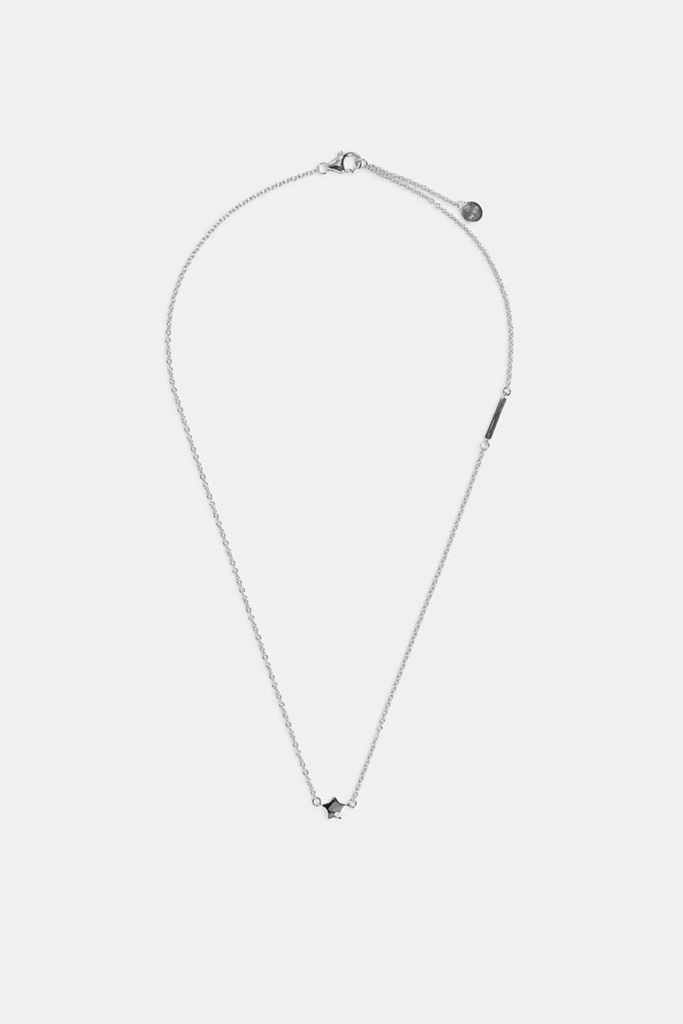 Sterling silver necklace trimmed with zirconia, SILVER, detail image number 1