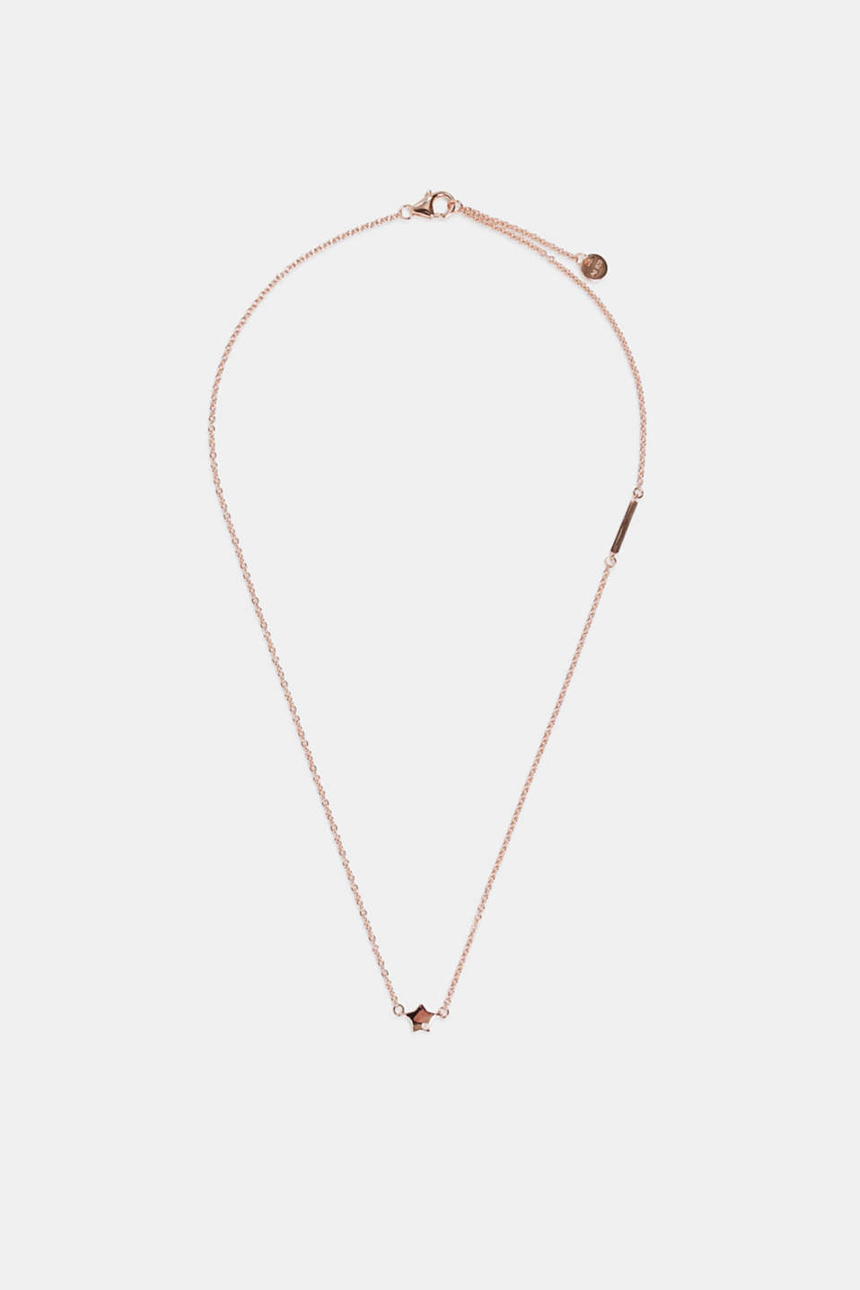 Necklace with star pendant, silver, ROSEGOLD, detail image number 1