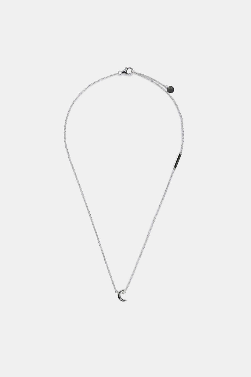 Necklace with zirconia pendant, sterling silver, SILVER, detail image number 1