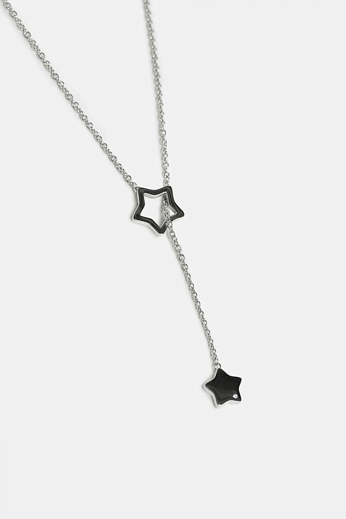 Pendant necklace with star charms, stainless steel, SILVER, detail image number 1