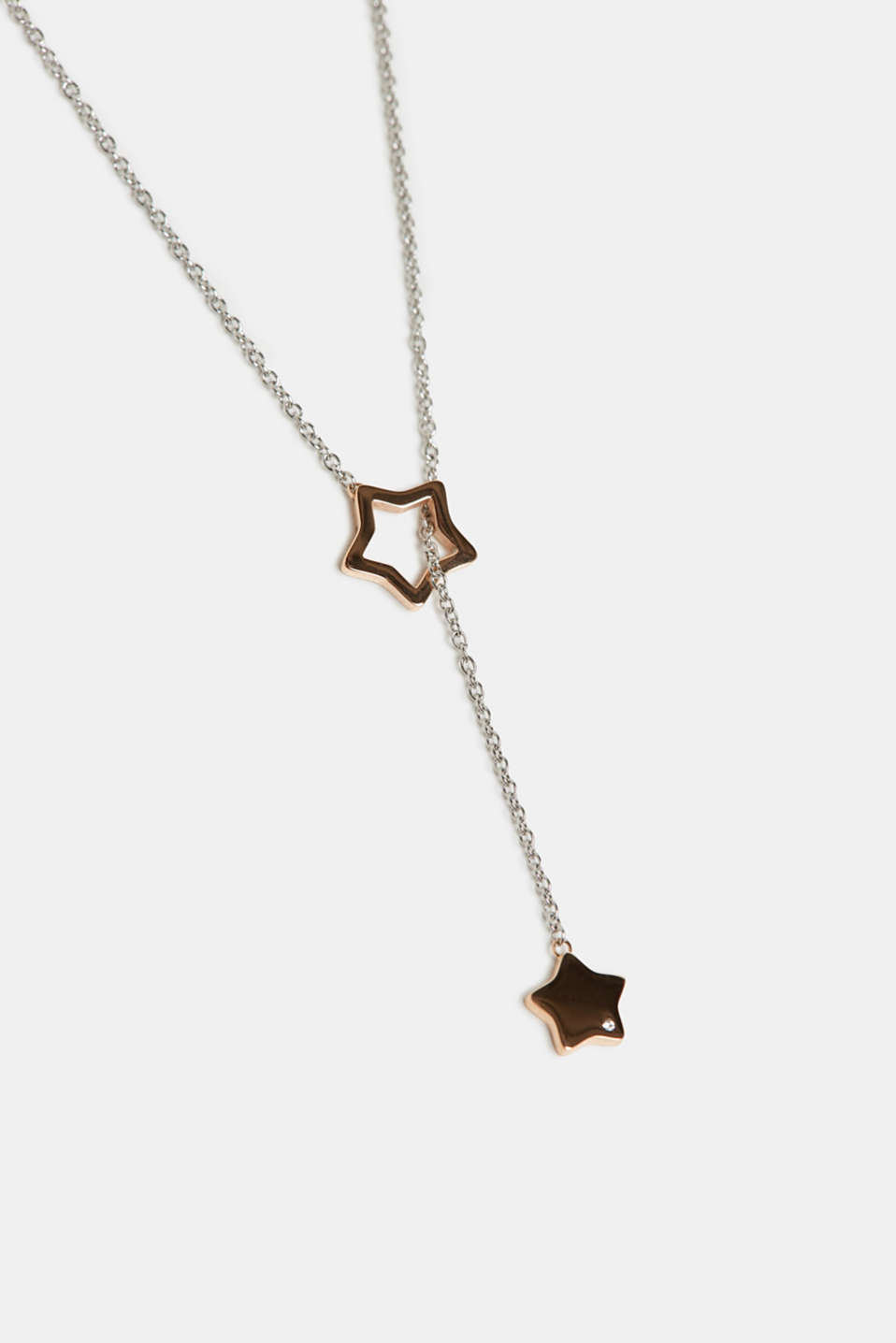 Necklace with star pendants, stainless steel, ROSEGOLD, detail image number 1