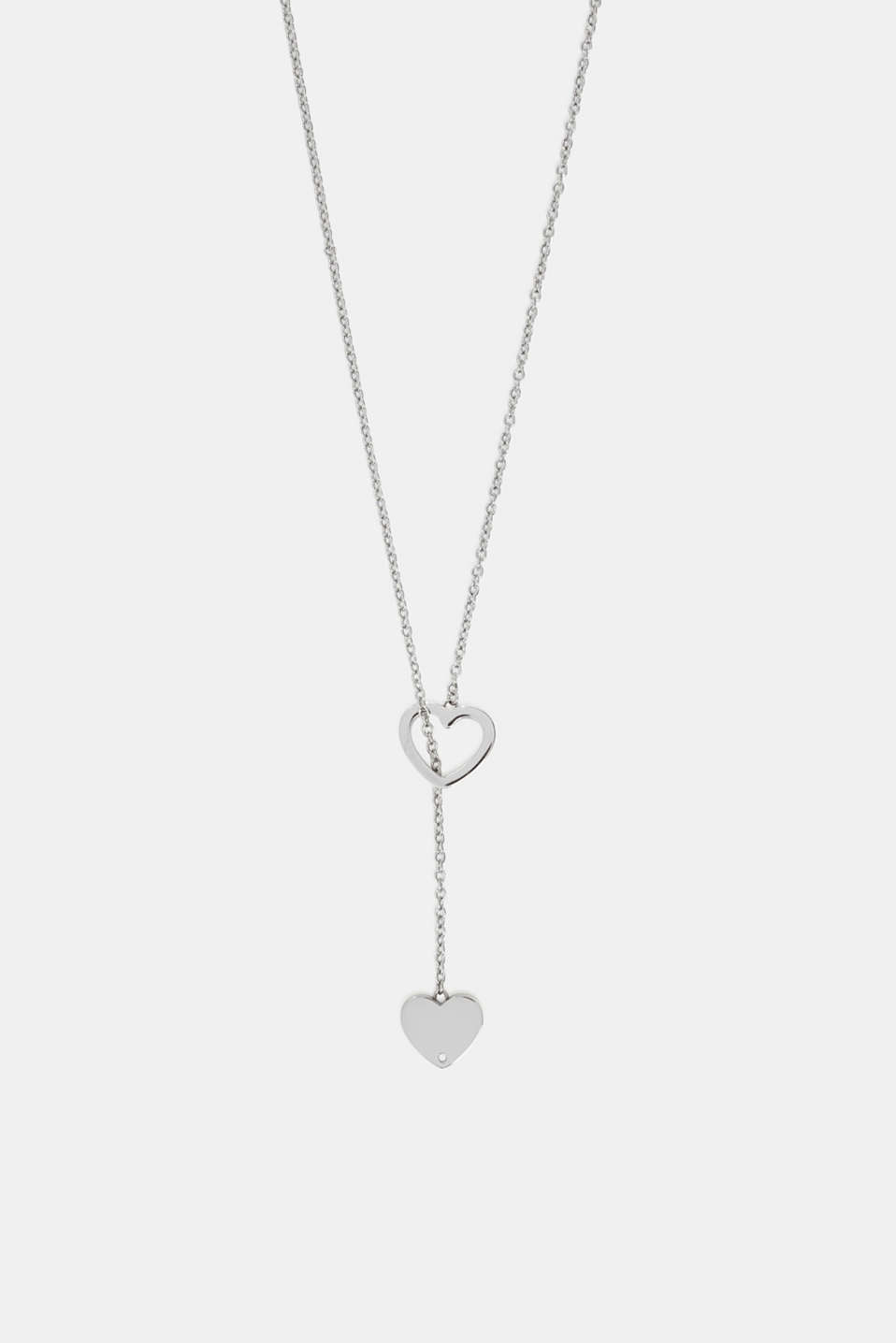 Pendant necklace with heart charm, stainless steel, SILVER, detail image number 0