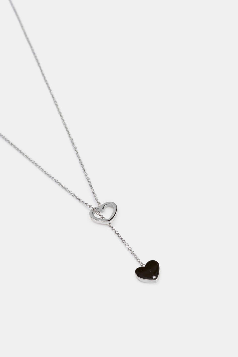 Pendant necklace with heart charm, stainless steel, SILVER, detail image number 1