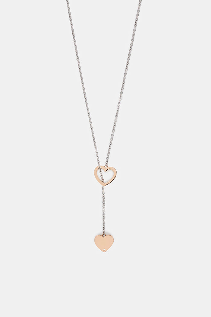 Stainless steel pendant necklace with heart charms