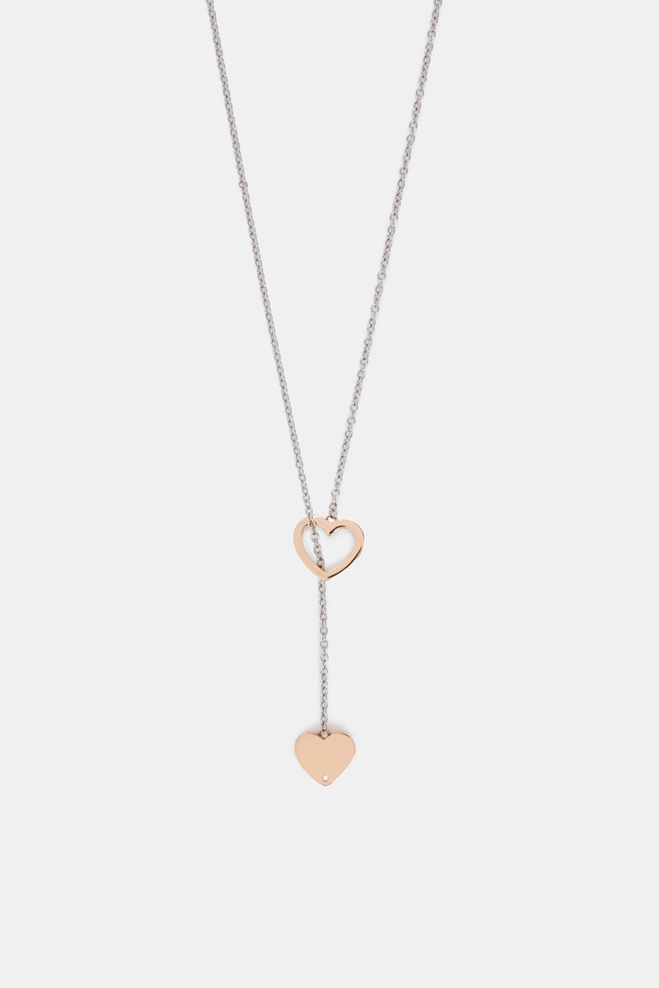 Stainless steel pendant necklace with heart charms, ROSEGOLD, detail image number 0