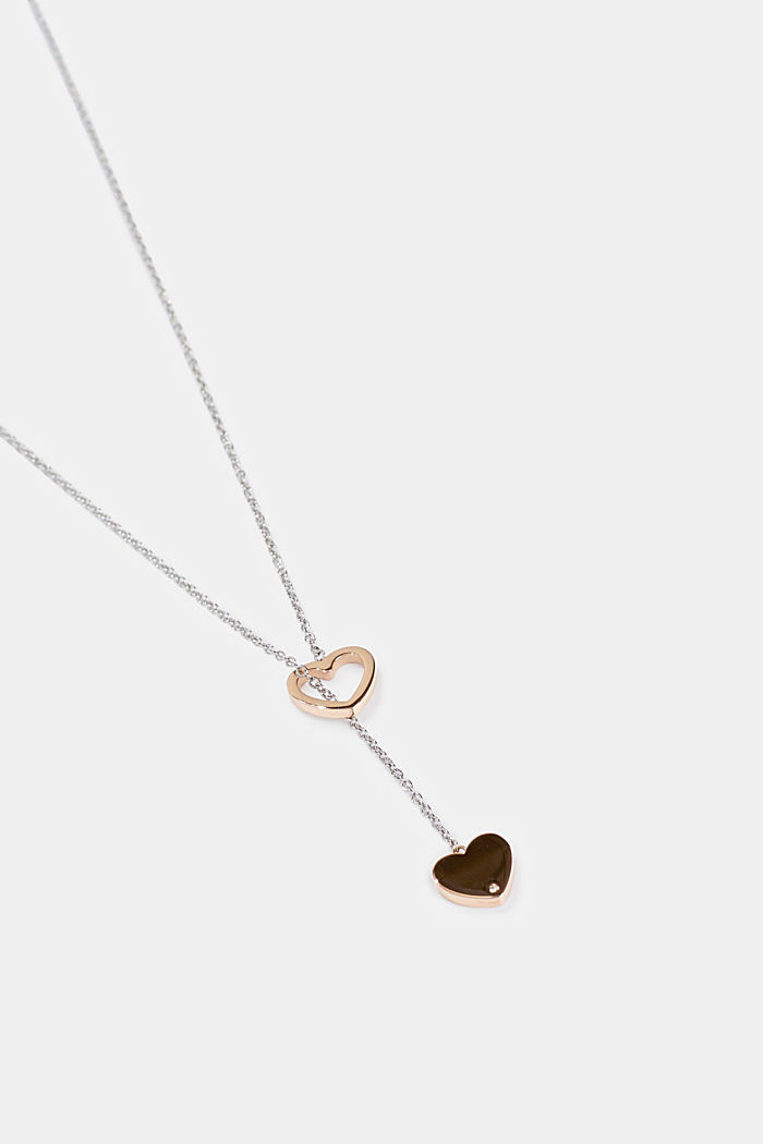 Stainless steel pendant necklace with heart charms, ROSEGOLD, detail image number 1