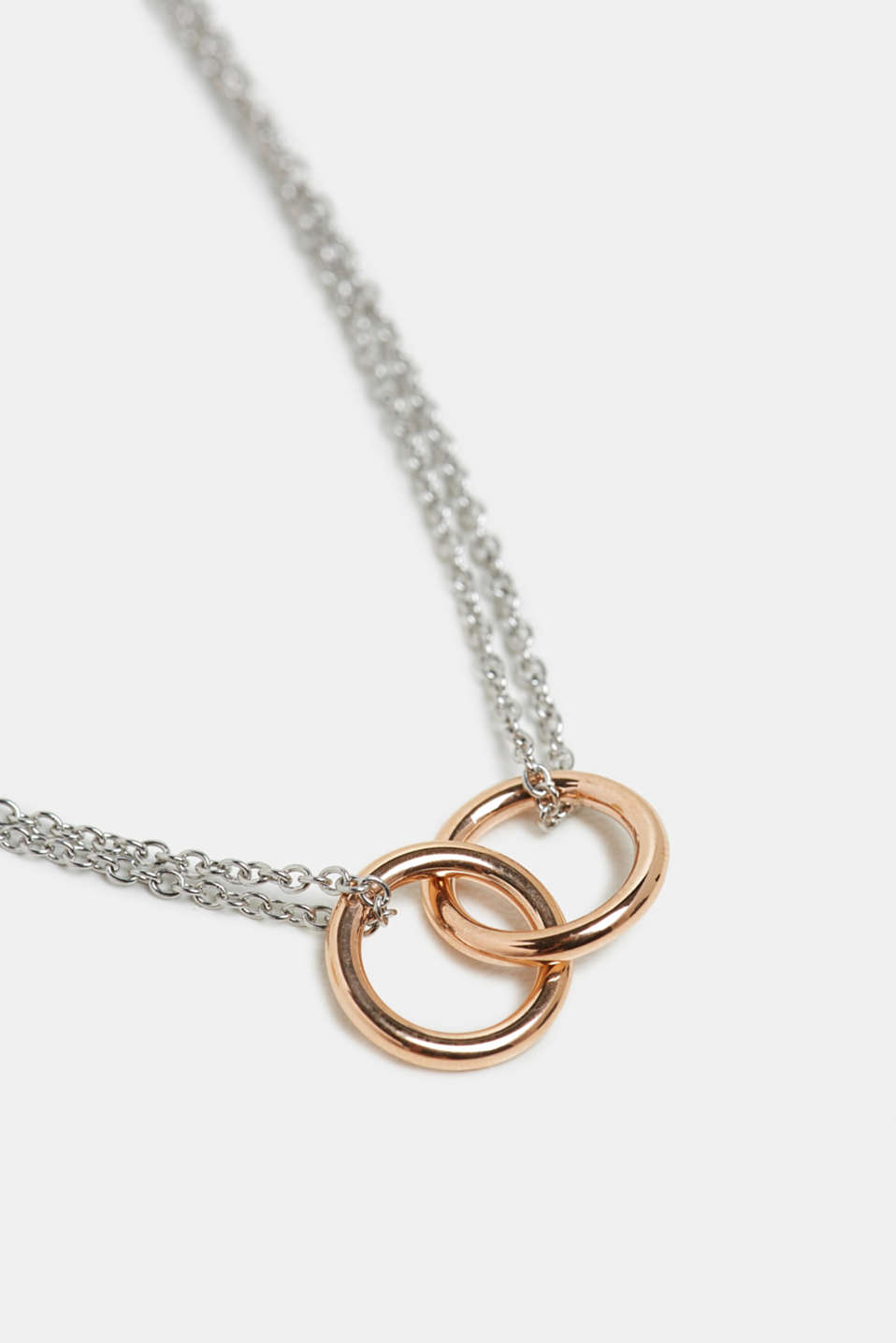 Necklace with ring pendants, stainless steel, ROSEGOLD, detail image number 1