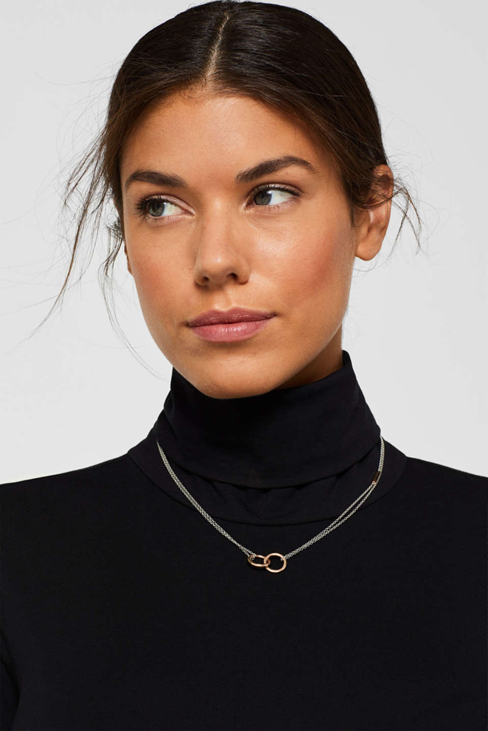 Necklace with ring pendants, stainless steel, ROSEGOLD, detail image number 2