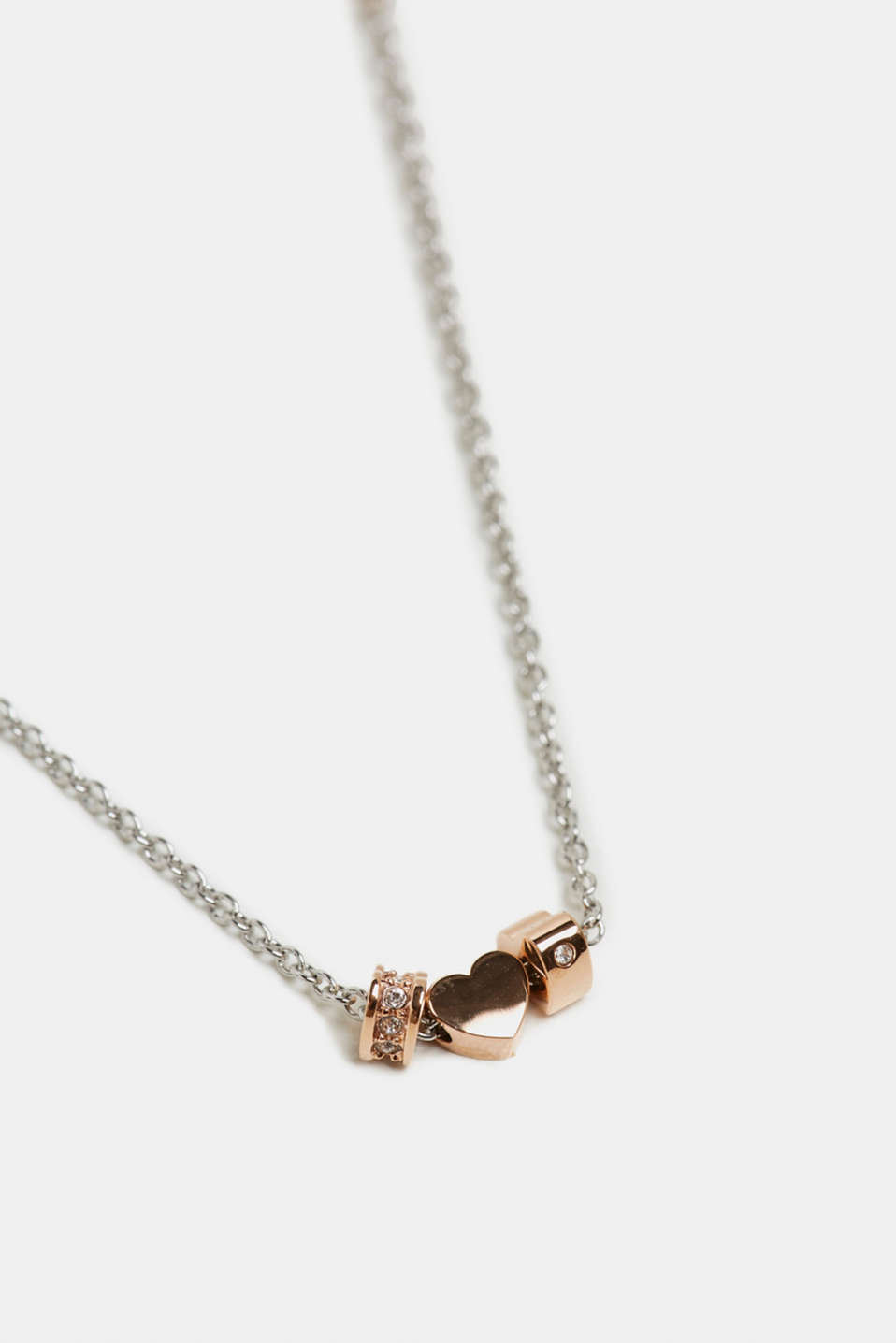 Chain with a zirconia pendant, made of stainless steel, ROSEGOLD, detail image number 1