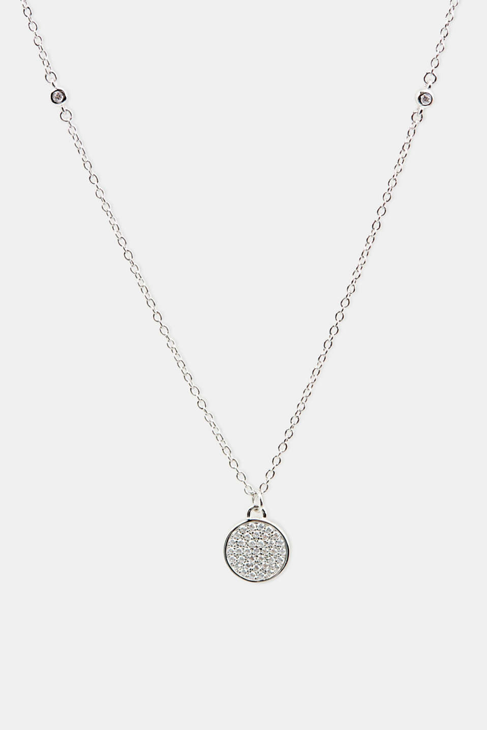 Necklace with zirconia, sterling silver, LCSILVER, detail image number 0