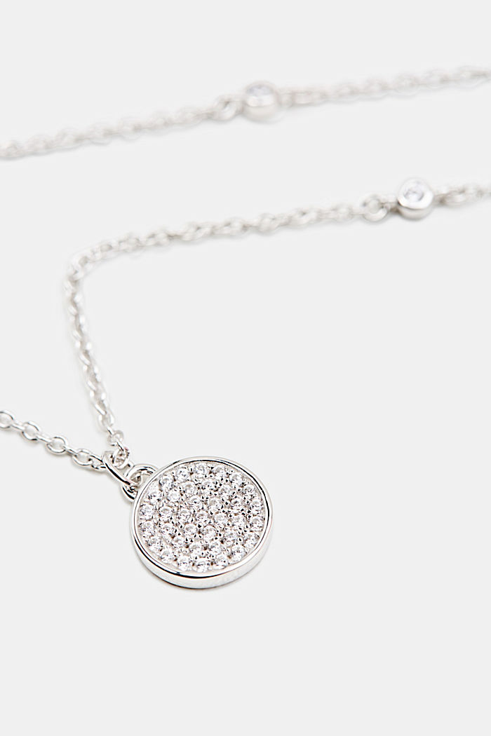 Necklace with zirconia, sterling silver, SILVER, detail image number 1