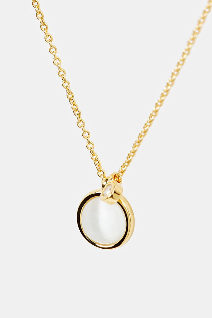 Sterling silver necklace with a faux pearl, GOLD, detail image number 1
