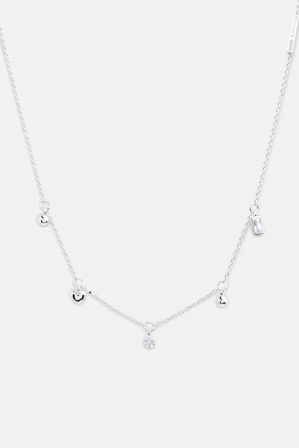 Necklace with charms, sterling silver, LCSILVER, detail image number 0