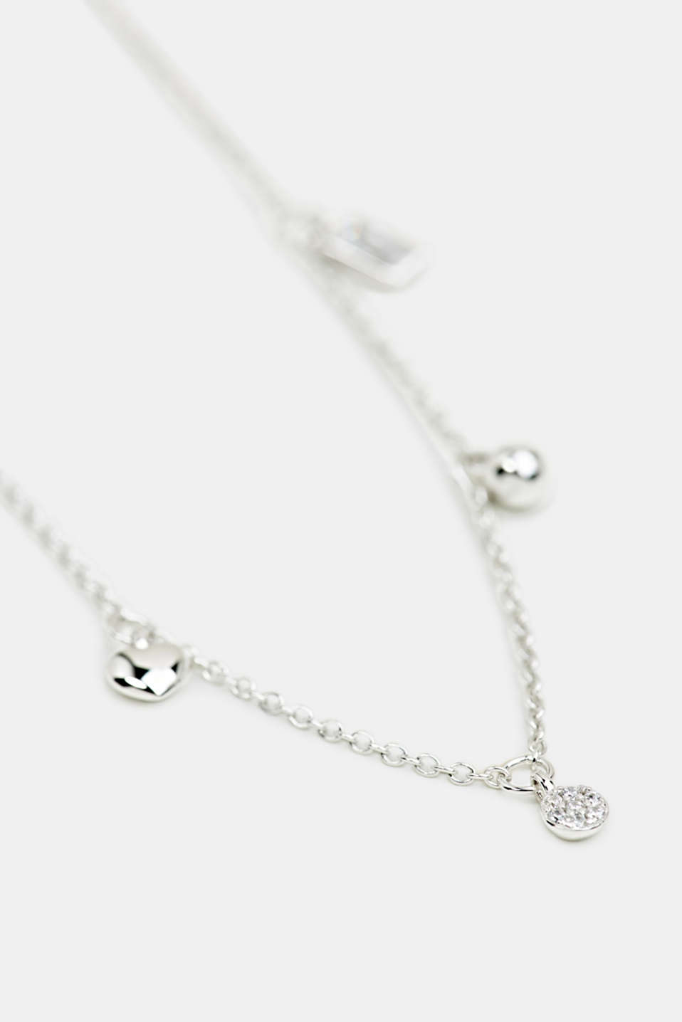 Necklace with charms, sterling silver, LCSILVER, detail image number 1