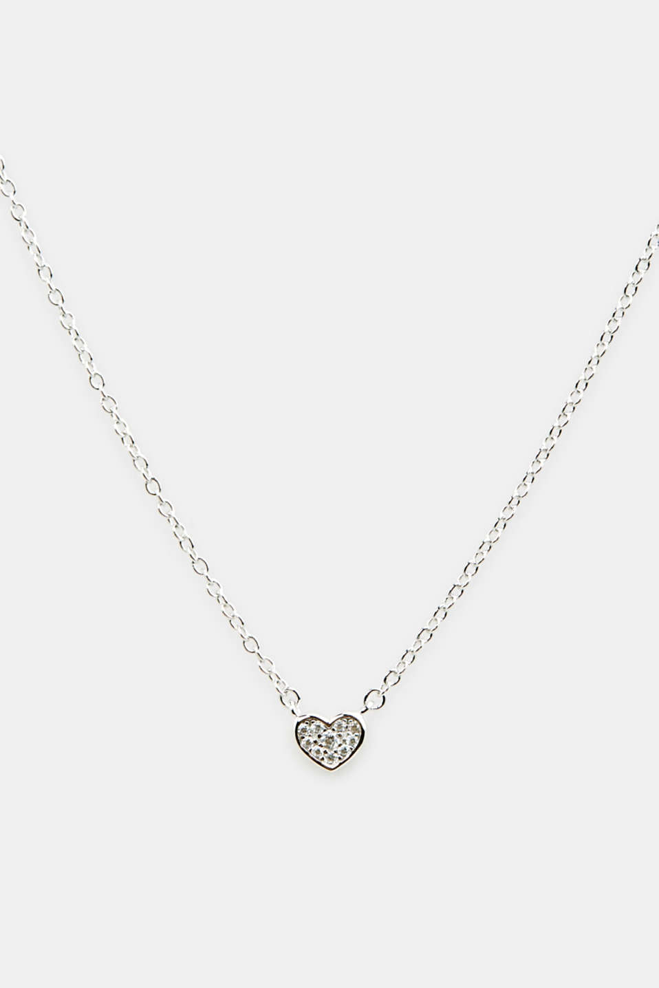 Necklace with zirconia pendant, sterling silver, LCSILVER, detail image number 0