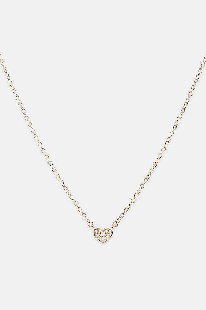Collana con ciondolo con zirconi, argento sterling, ROSEGOLD, detail image number 0