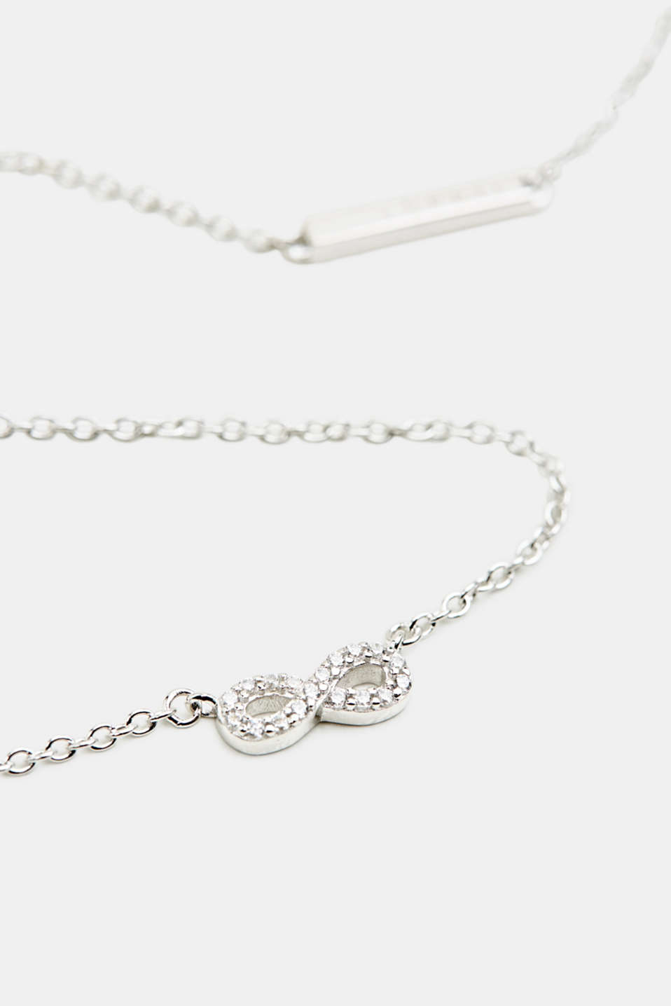 Necklace with zirconia pendant, sterling silver, LCSILVER, detail image number 1