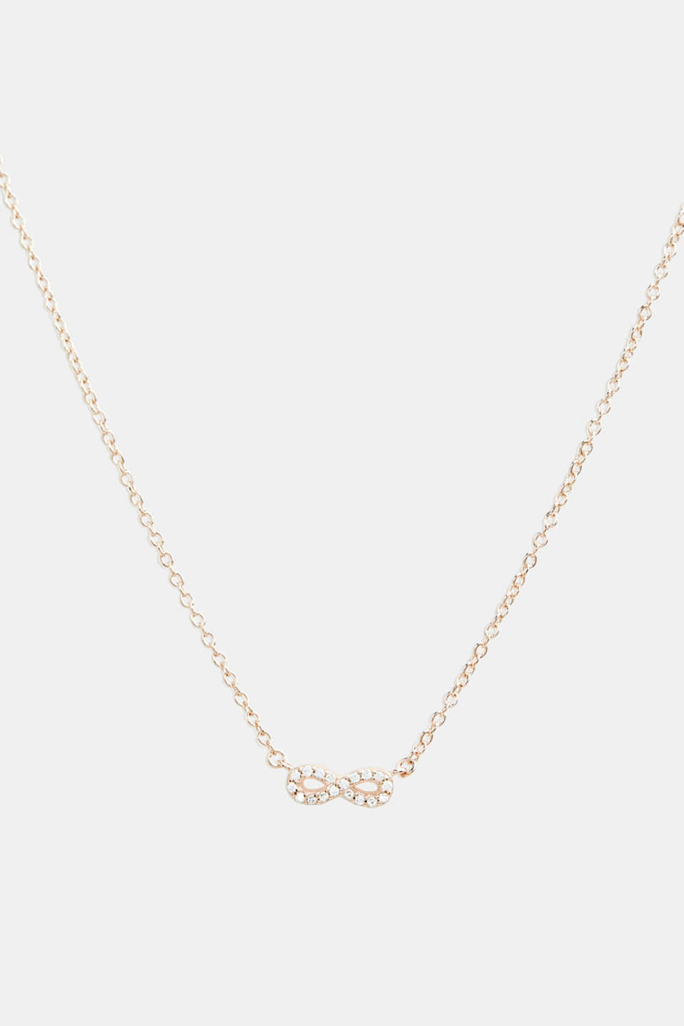 Necklace with zirconia pendant, sterling silver, LCROSEGOLD, detail image number 0