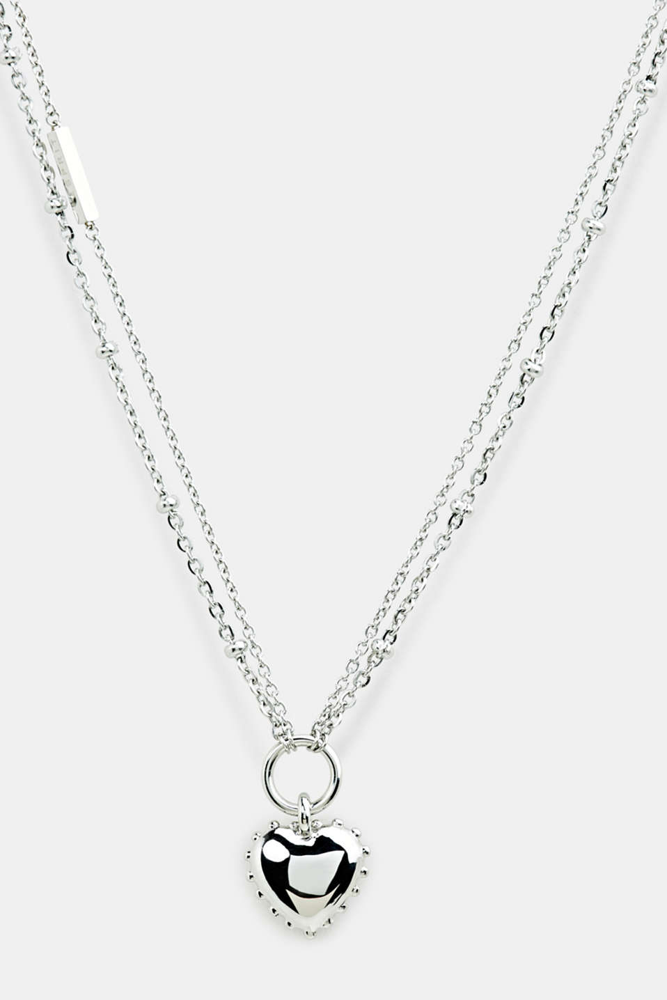 Necklace with heart pendant, stainless steel, LCSILVER, detail image number 0