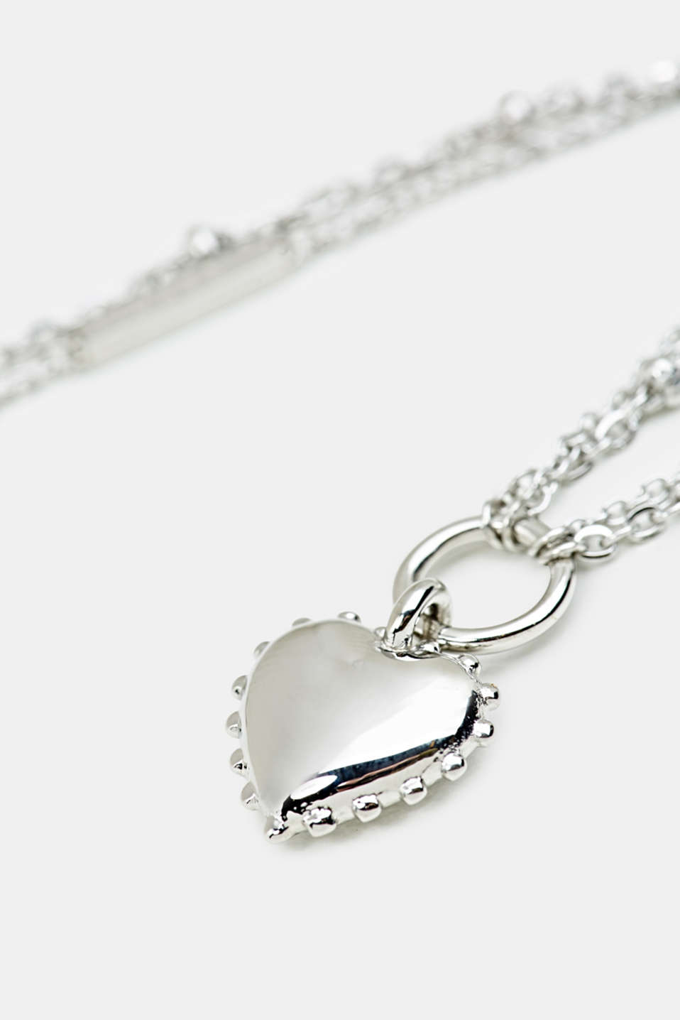 Necklace with heart pendant, stainless steel, LCSILVER, detail image number 1