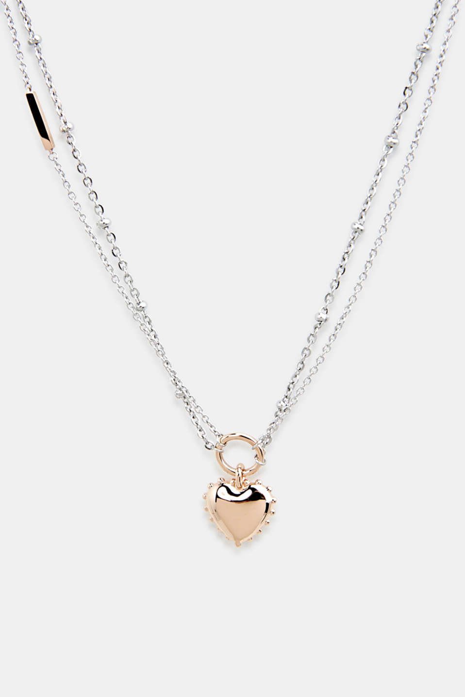 Necklace with heart pendant, stainless steel, LCROSEGOLD BICOL, detail image number 0