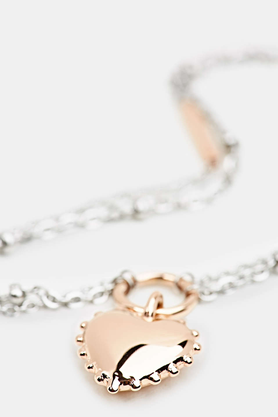 Necklace with heart pendant, stainless steel, LCROSEGOLD BICOL, detail image number 1