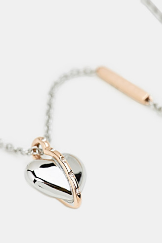 Necklace with heart pendant, stainless steel