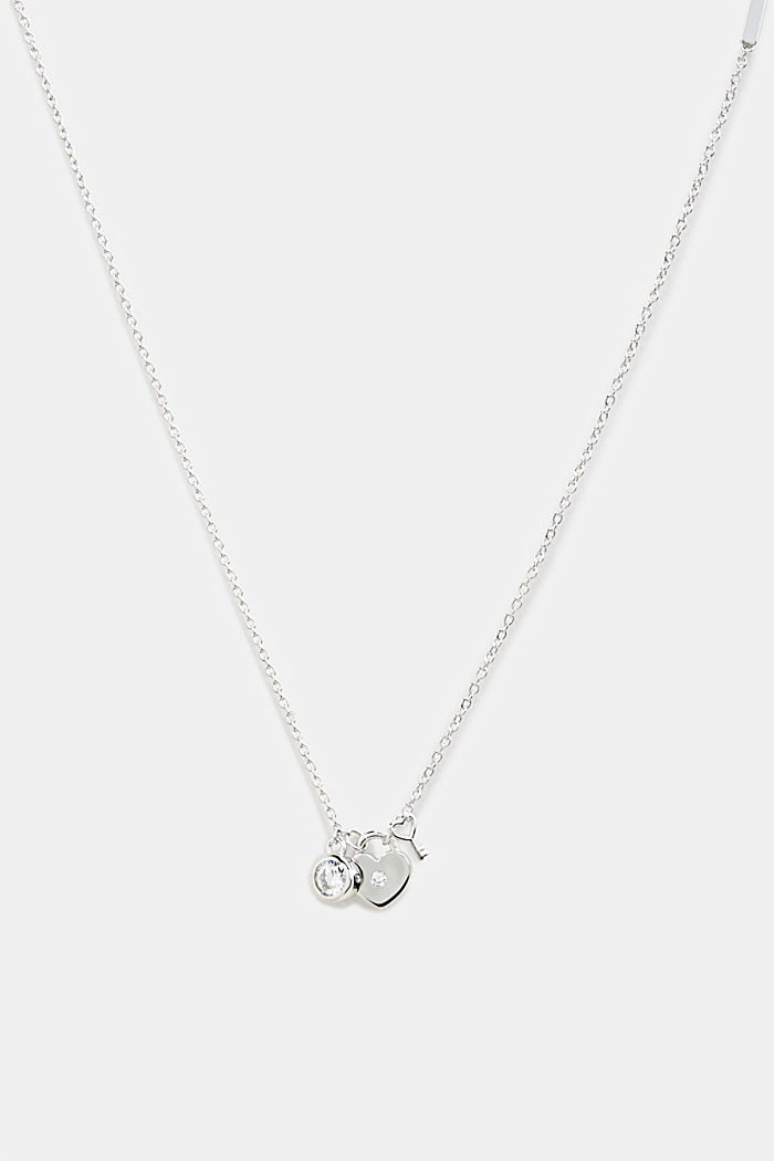 Necklace with charms, sterling silver, SILVER, detail image number 0