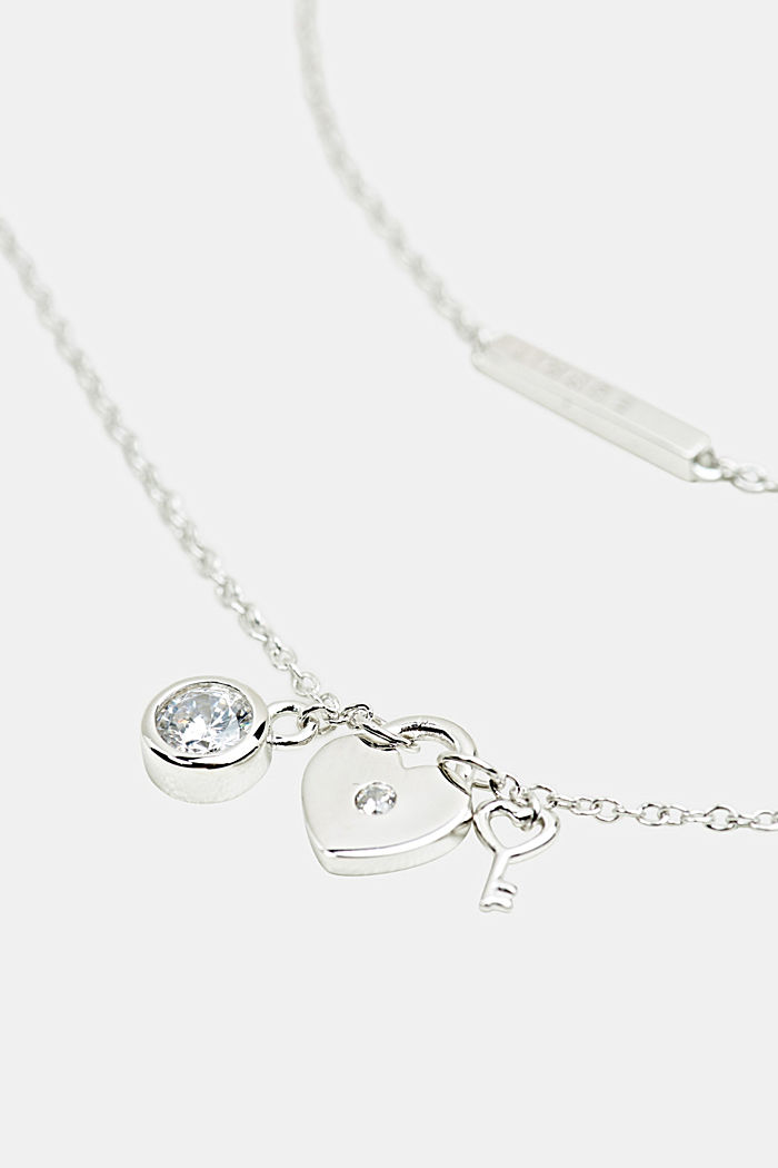 Necklace with charms, sterling silver, SILVER, detail image number 1