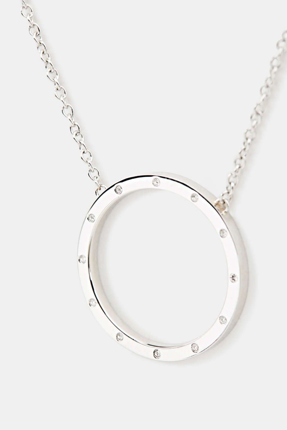 Chain with a zirconia pendant, made of stainless steel, LCSILVER, detail image number 1