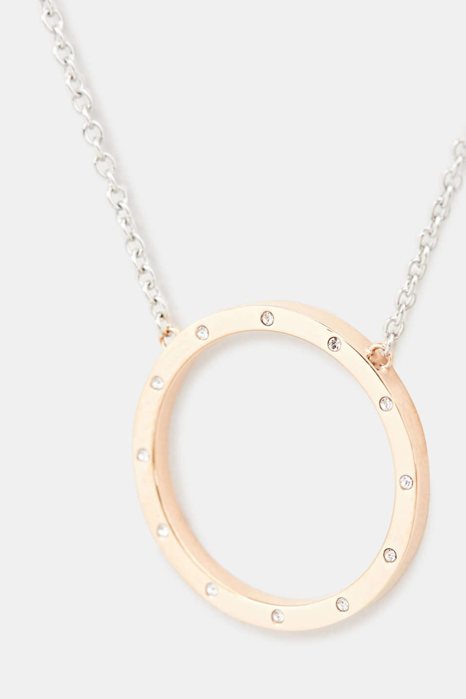 Chain with a zirconia pendant, made of stainless steel, LCROSEGOLD BICOL, detail image number 1