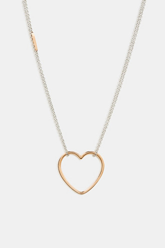 Stainless steel heart necklace with zirconia