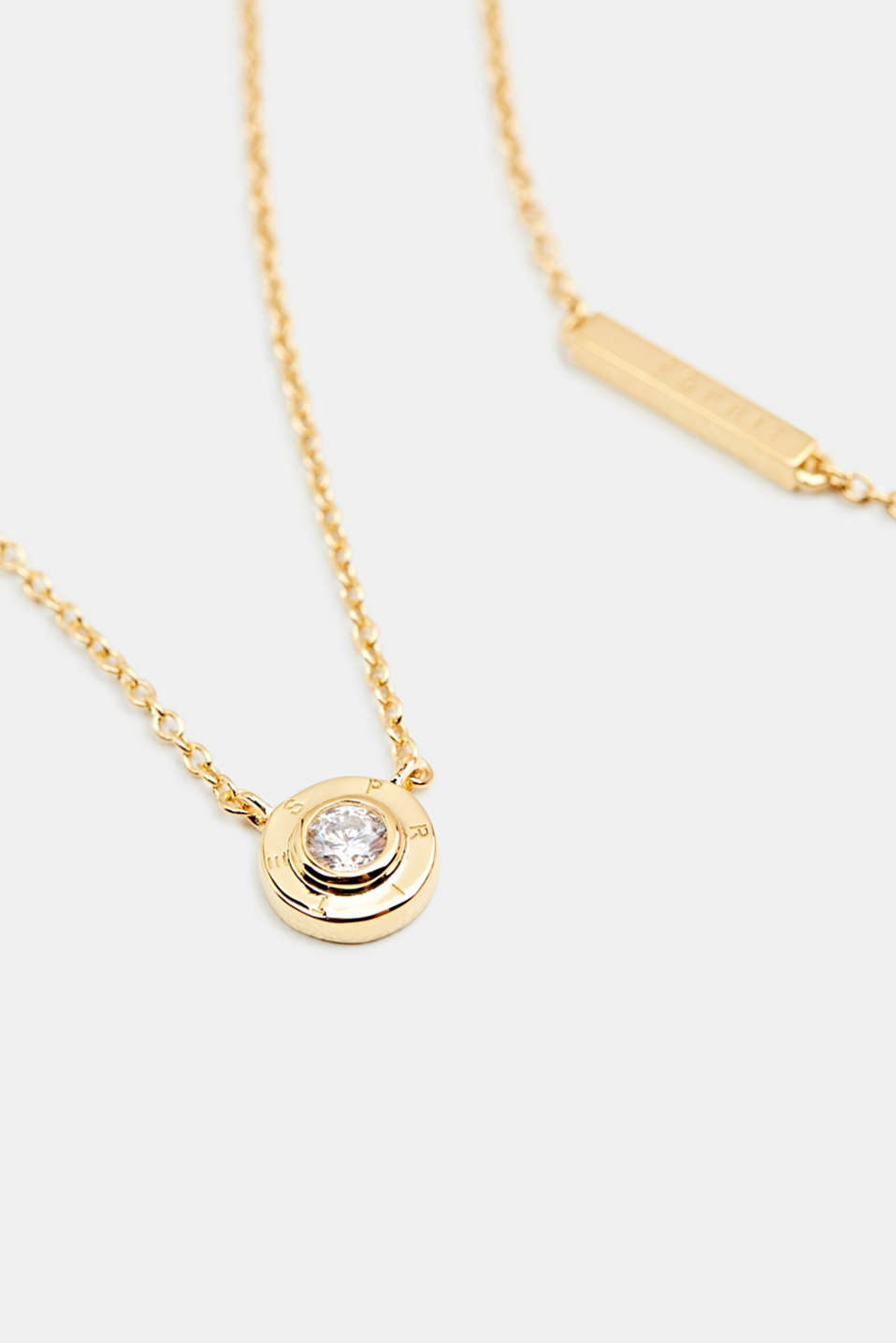 Necklace with zirconia pendant, sterling silver, LCGOLD, detail image number 1