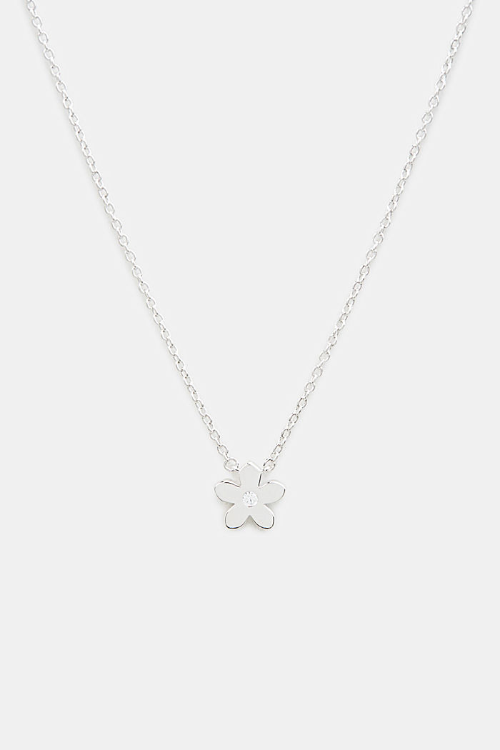 Necklace with flower and zirconia, sterling silver, SILVER, detail image number 0