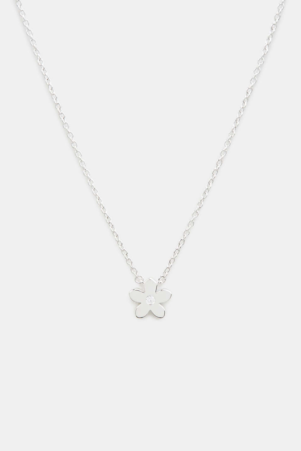 Necklace with flower and zirconia, sterling silver, LCSILVER, detail image number 0