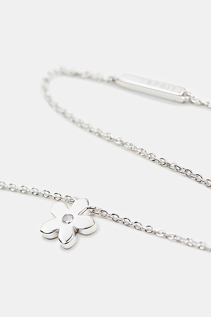 Necklace with flower and zirconia, sterling silver, SILVER, detail image number 1