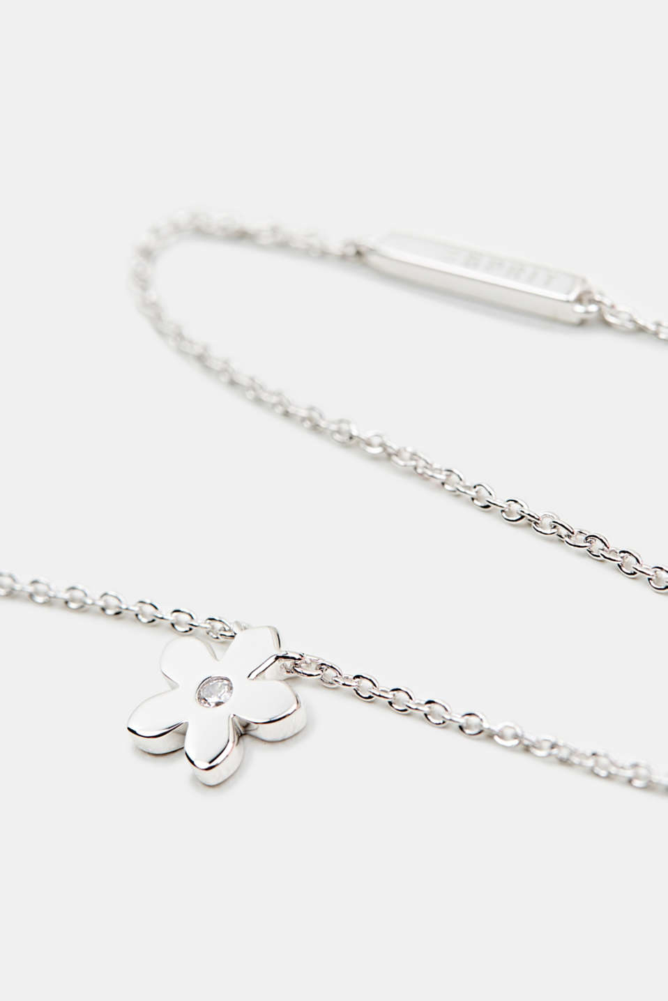 Necklace with flower and zirconia, sterling silver, LCSILVER, detail image number 1